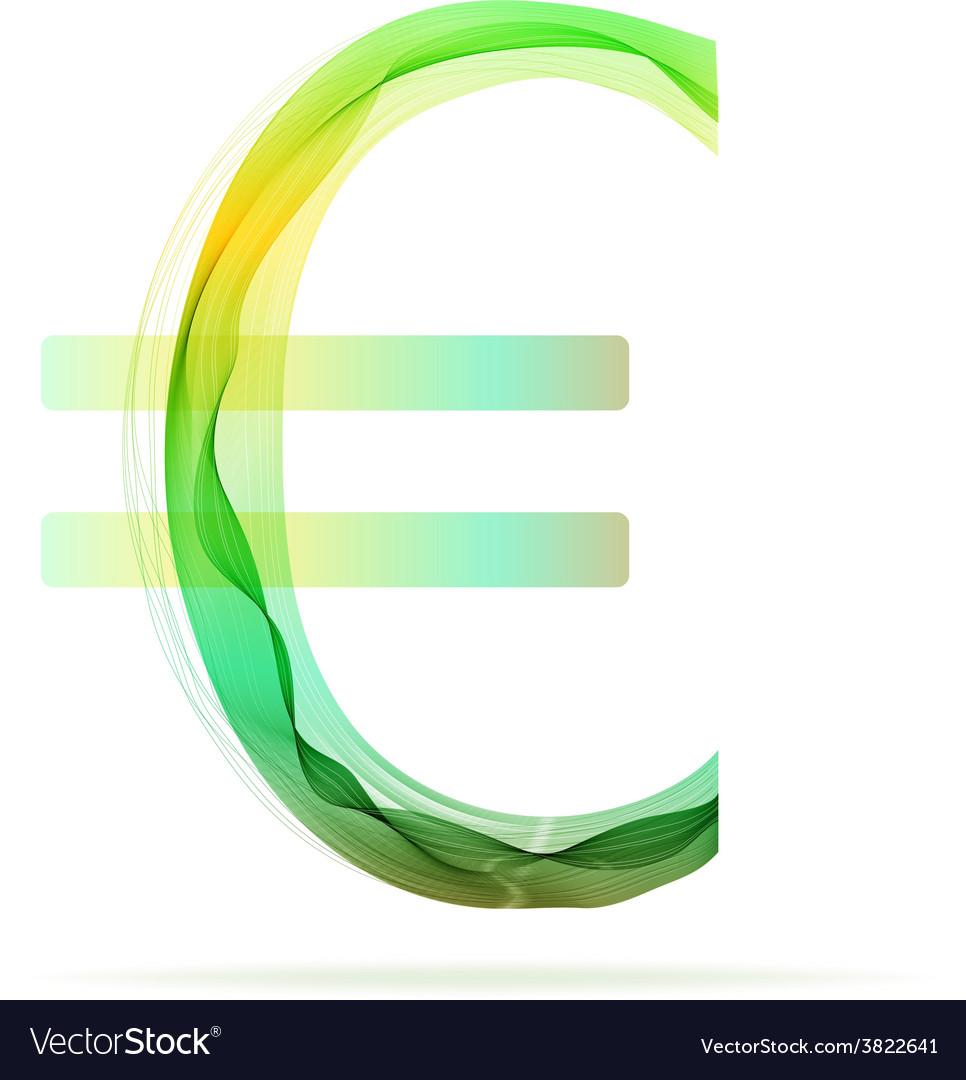 Green abstract Euro sign vector image