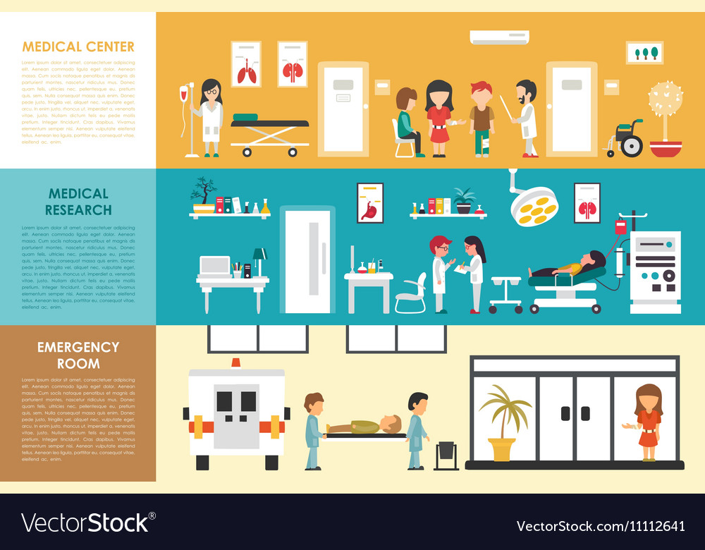 Medical Center Research Emergency Room flat vector image