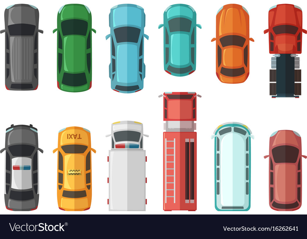 Pictures of transportation top view cars isolated vector image