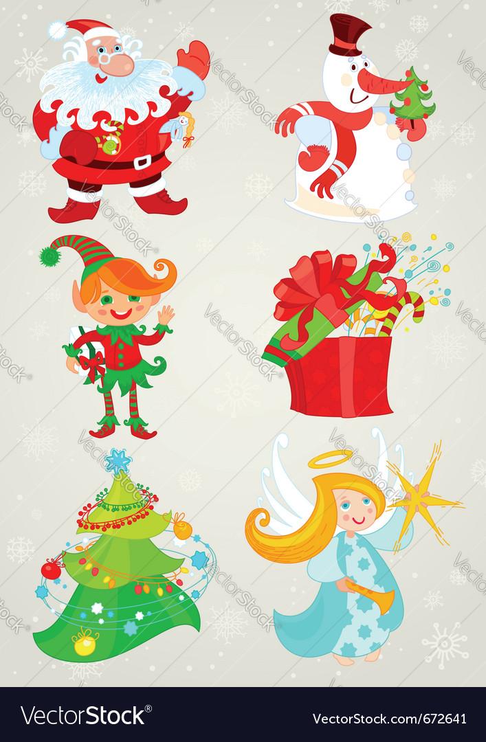 Set santa claus and friends vector image