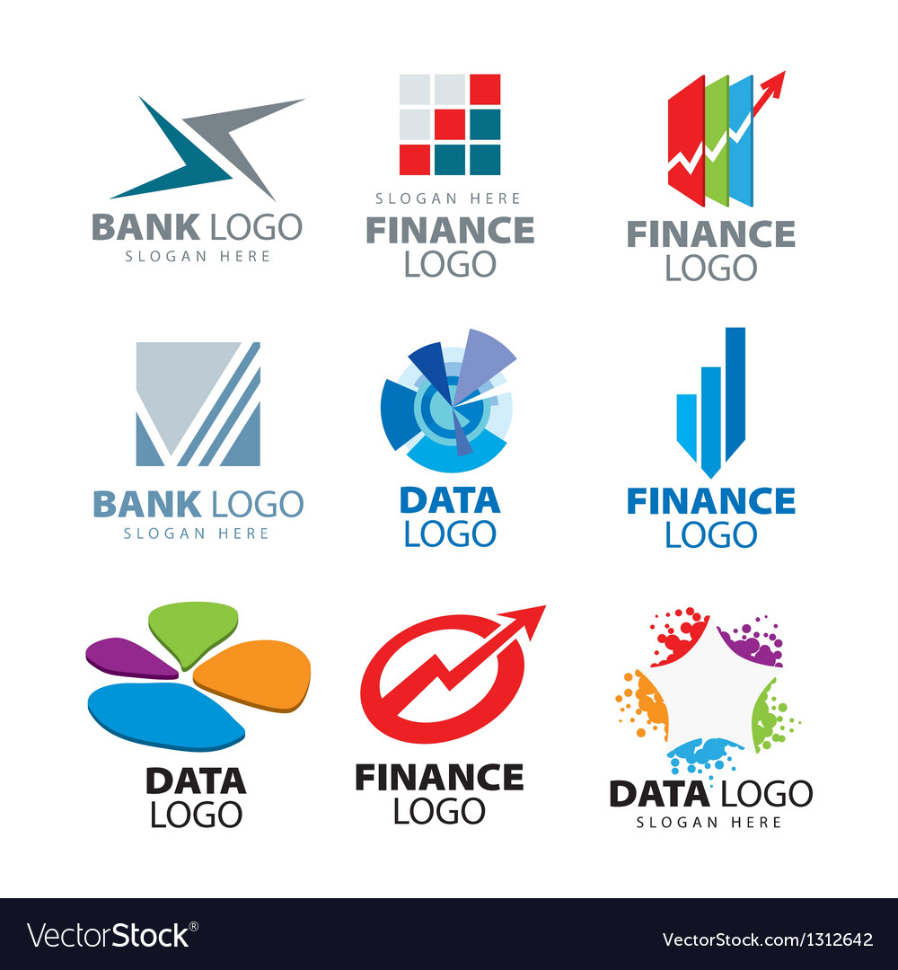 Collection of logos for banks and finance c Vector Image