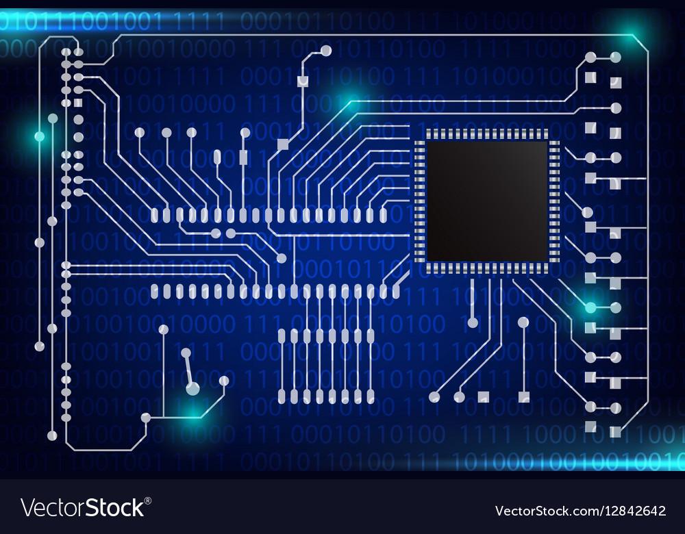 Closeup of electronic circuit board vector image