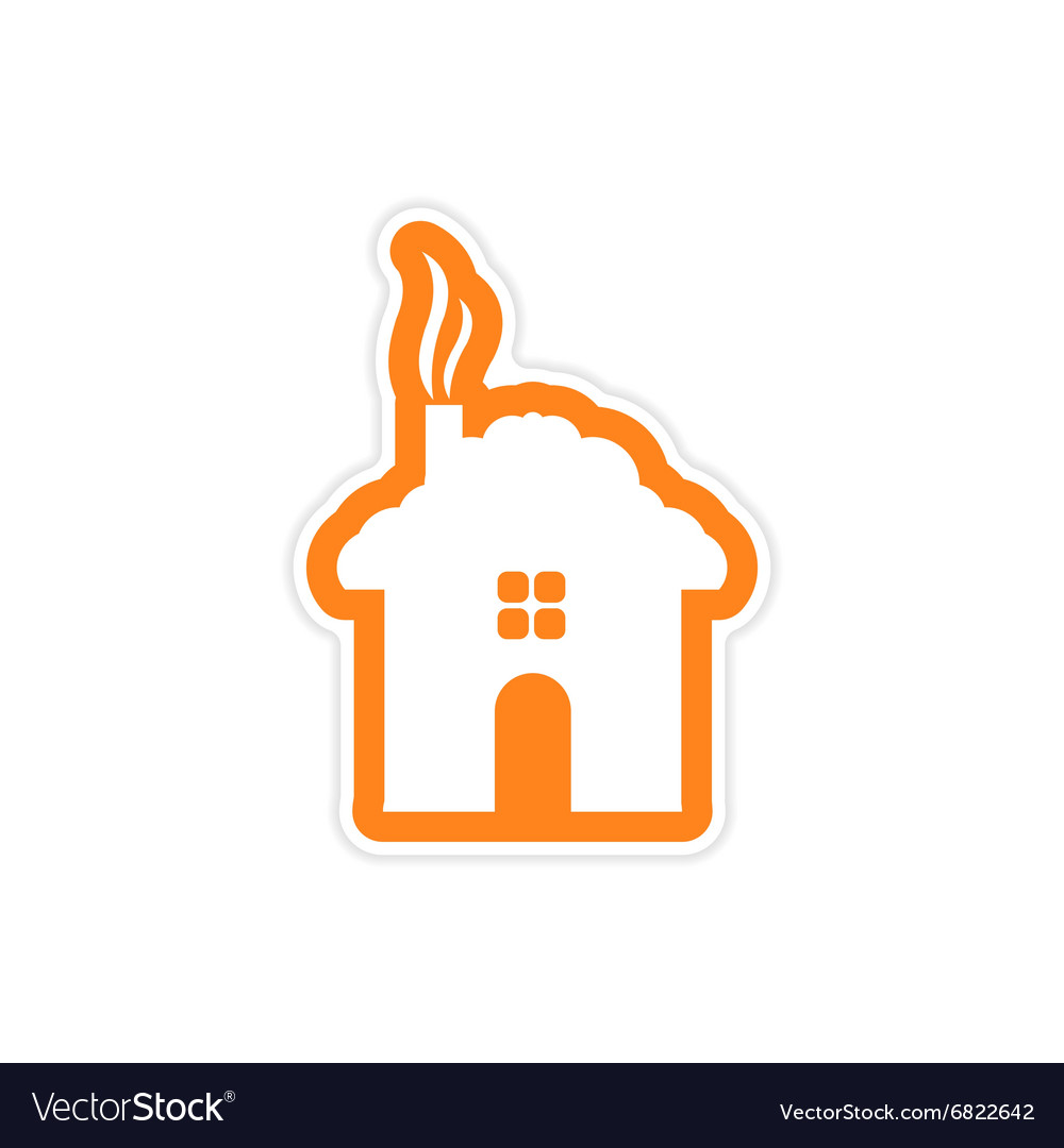 paper sticker on stylish background of house
