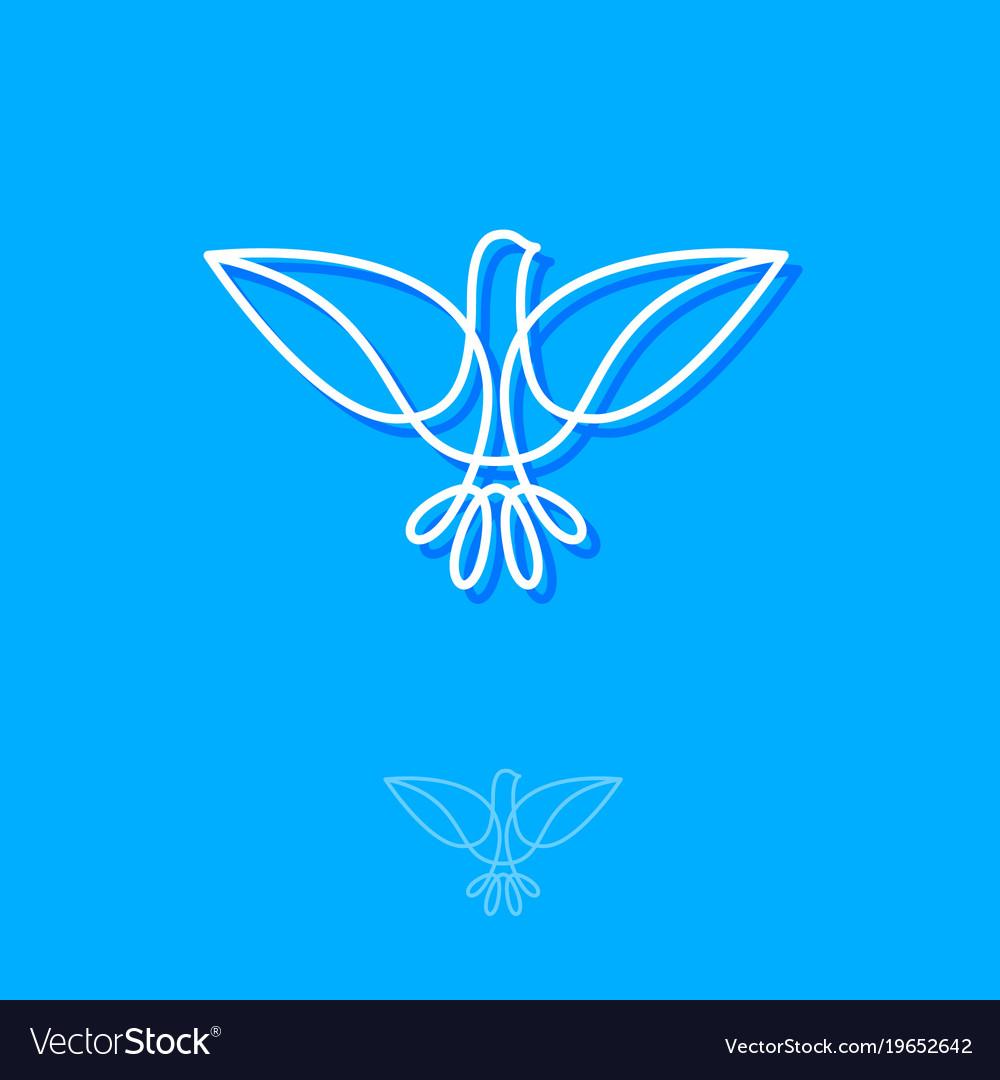 White bird line logo vector image