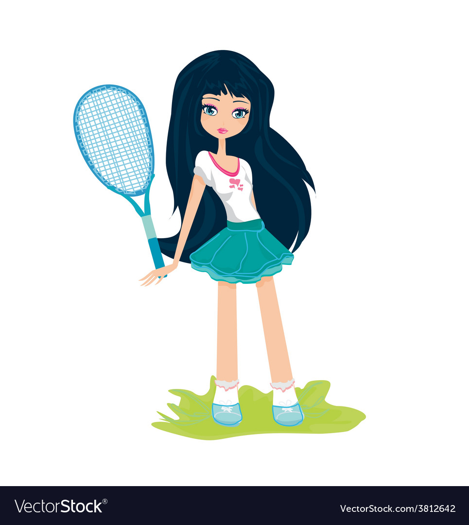 Young girl with a tennis racket over white vector image