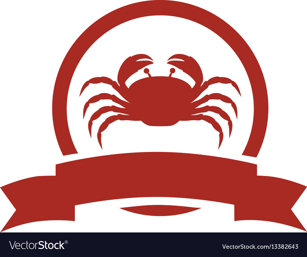 Red circular border with crab and label vector image