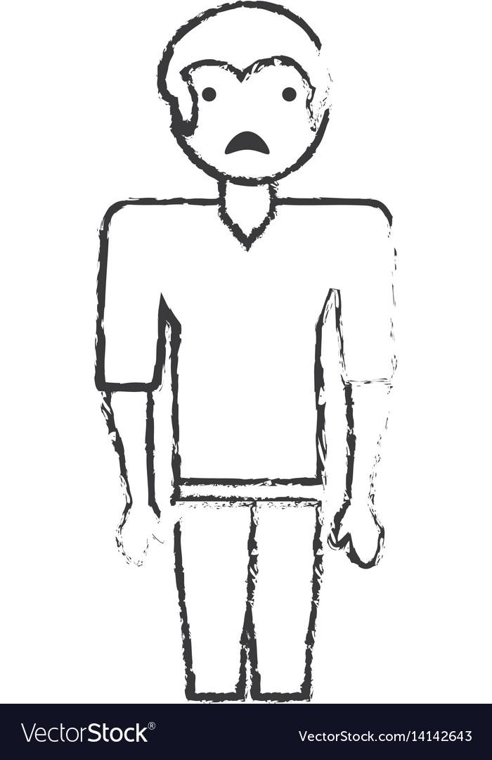 Sketch man male sad face vector image