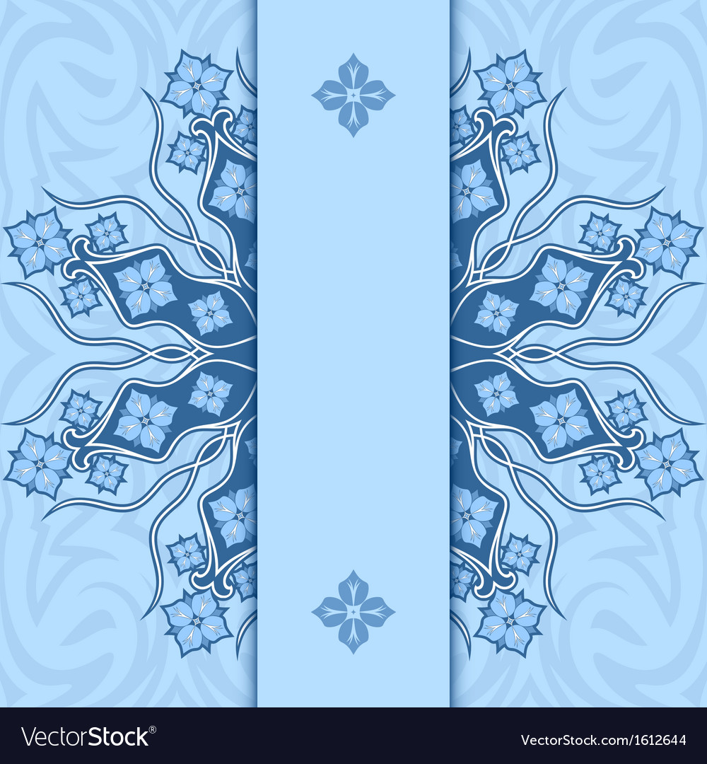 Card with ornament Blue vector image