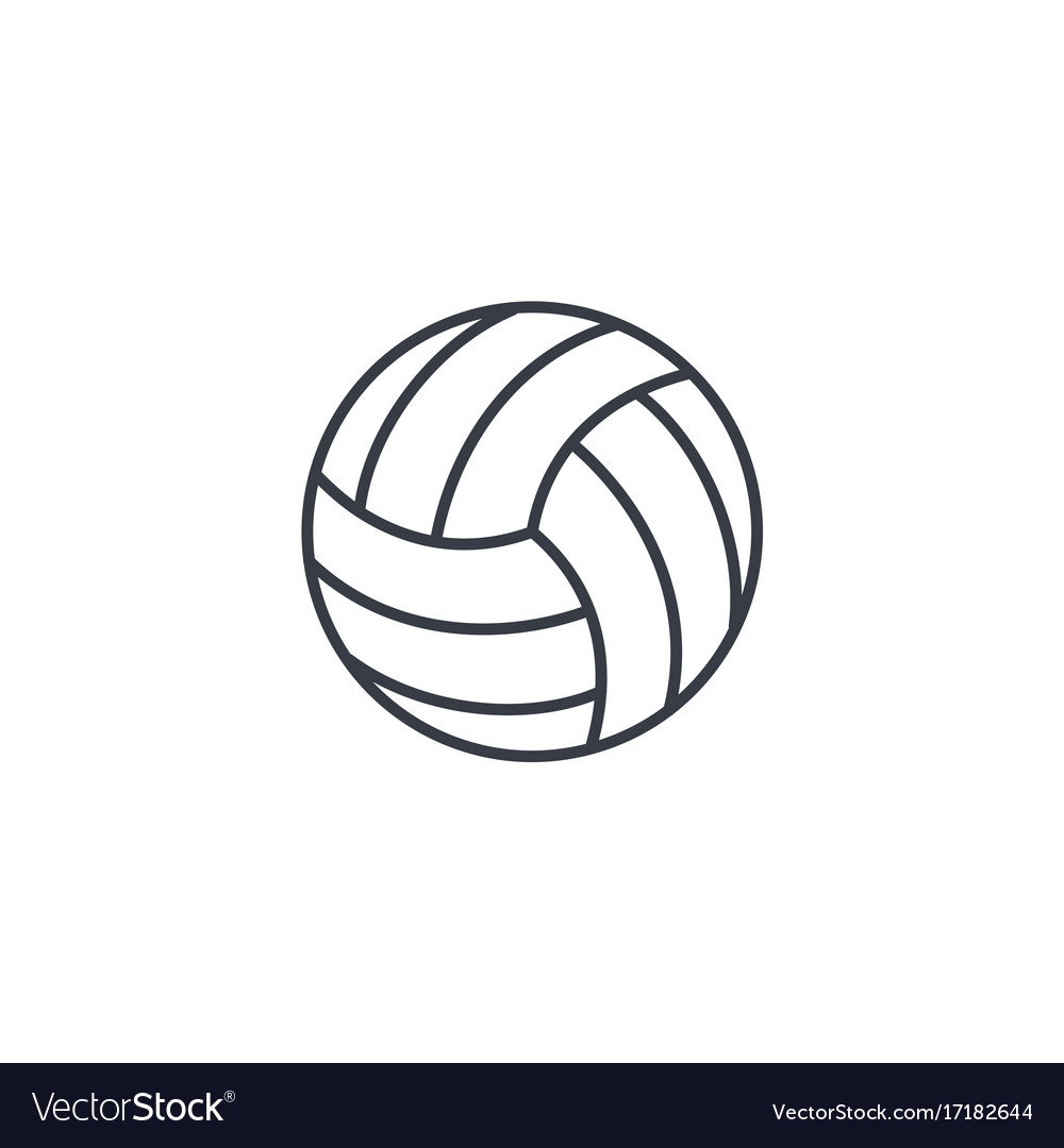 Volleyball ball thin line icon linear vector image