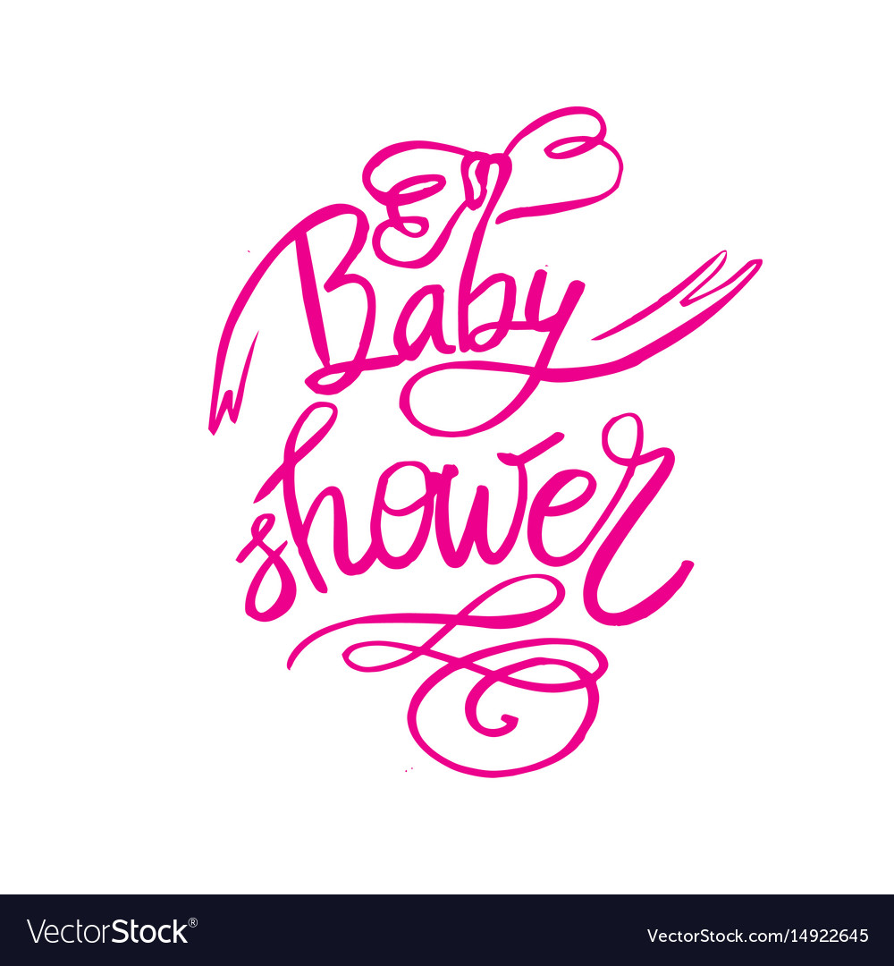 Baby shower text for girl custom lettering pink vector image