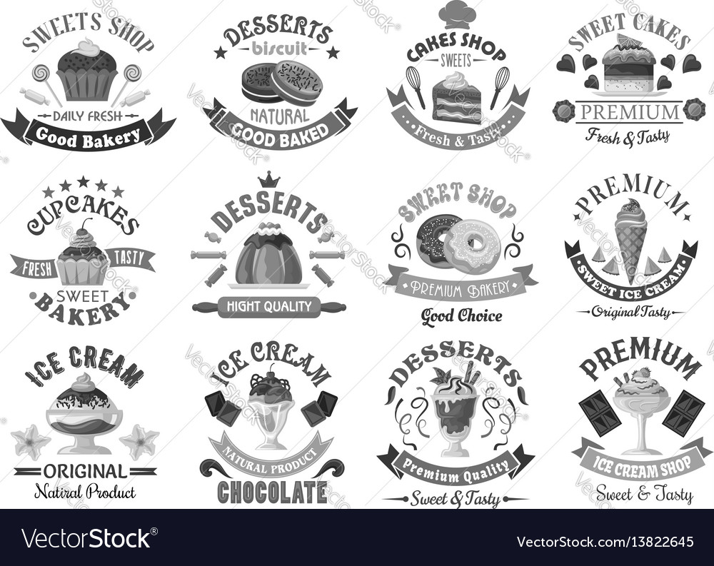 Bakery menu template desserts and cakes icons set vector image