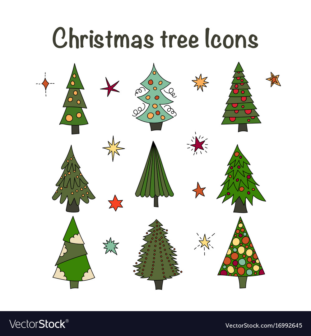 Icon set with christmas trees vector image