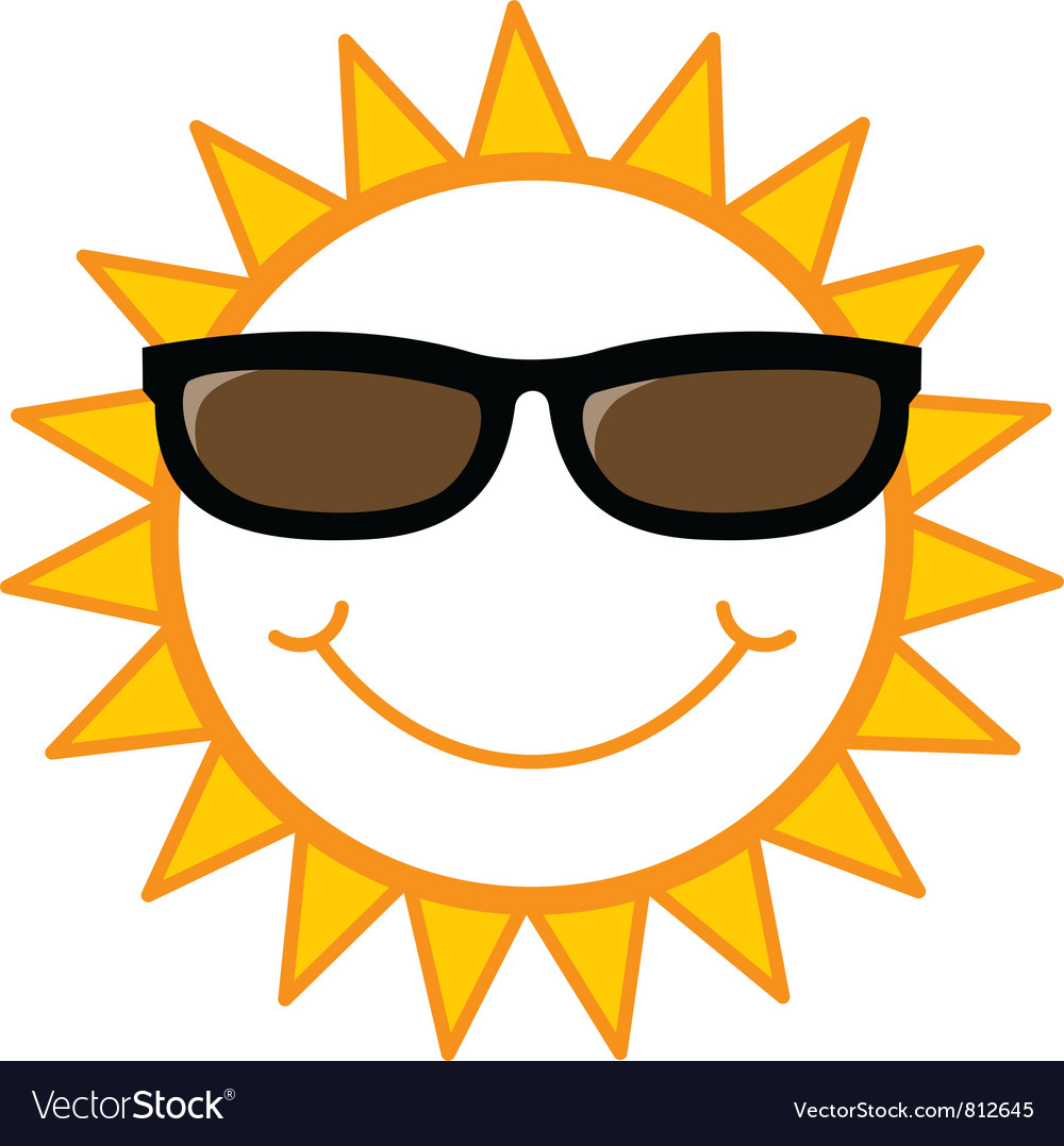 Smiling sun with sunglasses - Smiley Sun With Sunglasses Vector Image