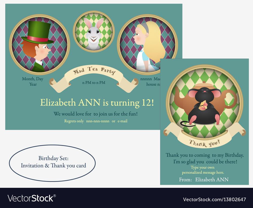 Alice in wonderland mad tea party birthday vector image