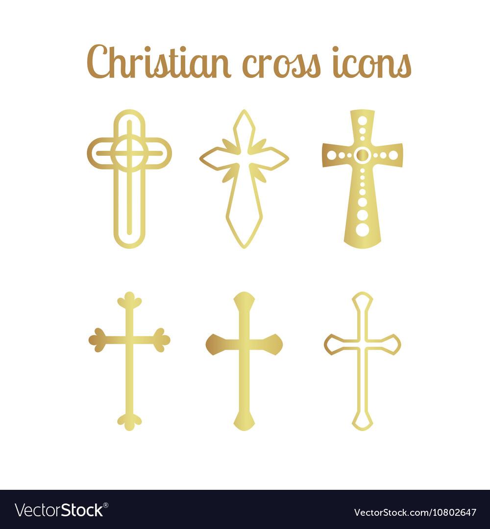 Golden christian cross icons on white vector image