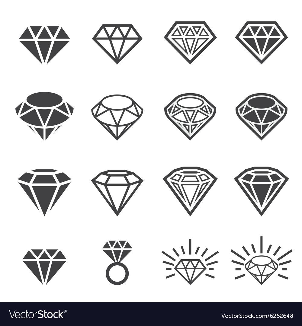 Diamond icon set vector image