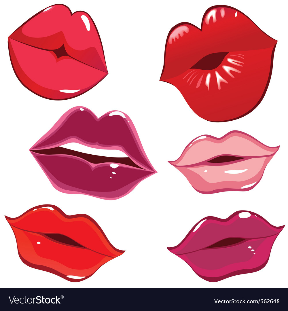 Lips and kiss vector image