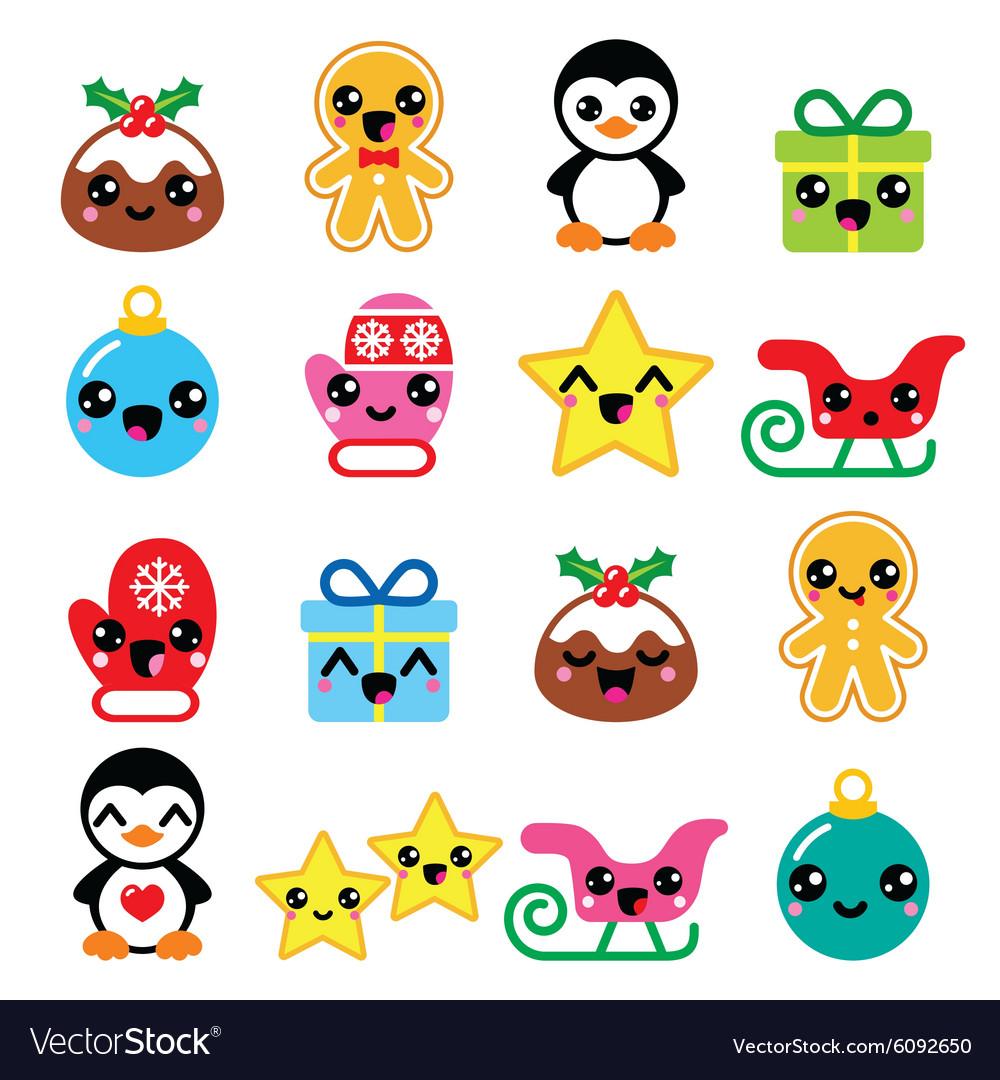 Christmas cute Kawaii characters icons Royalty Free Vector
