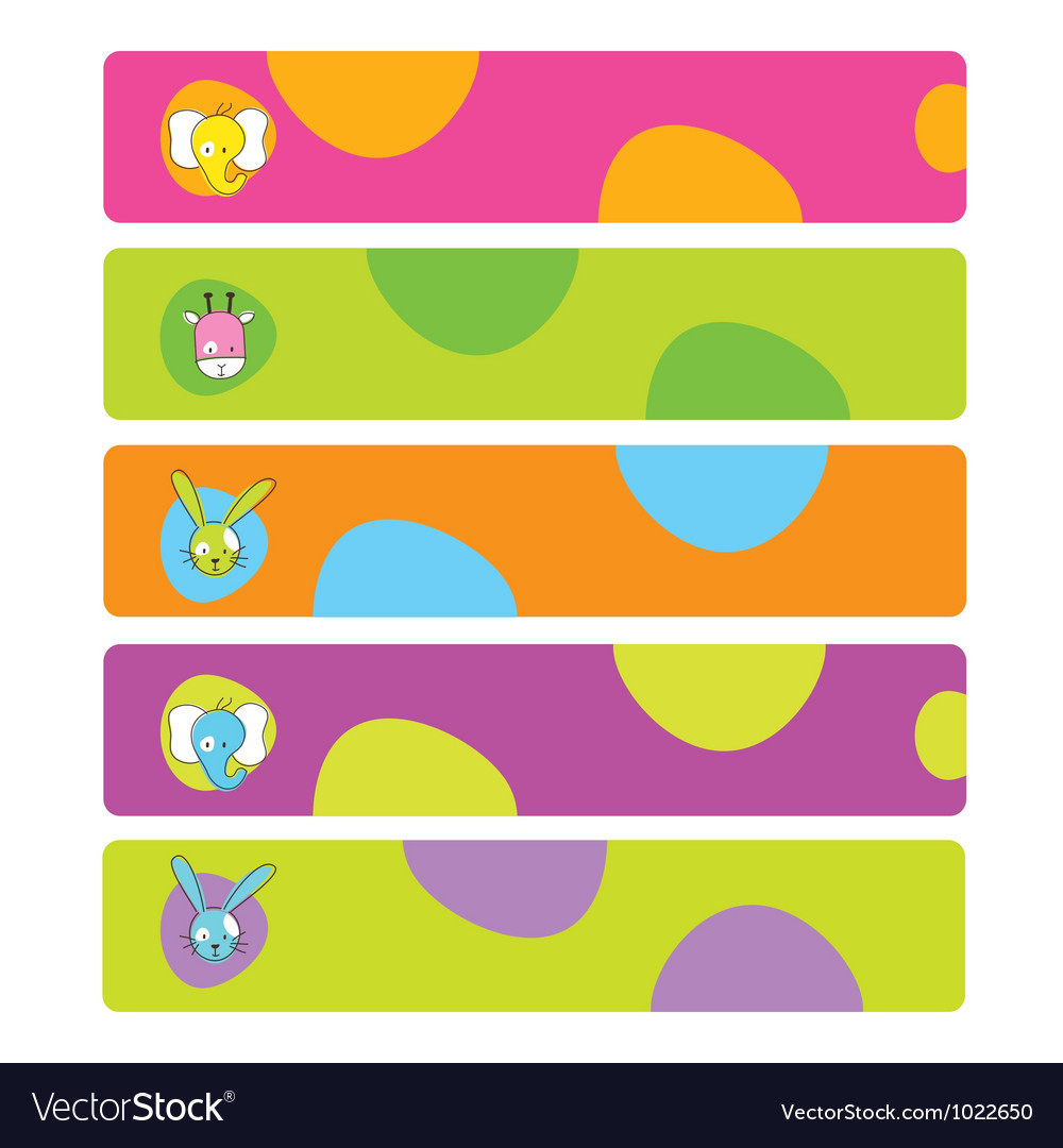 Colorful web kids banners vector image