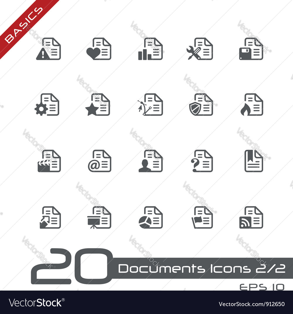 Documents Icons Basics vector image