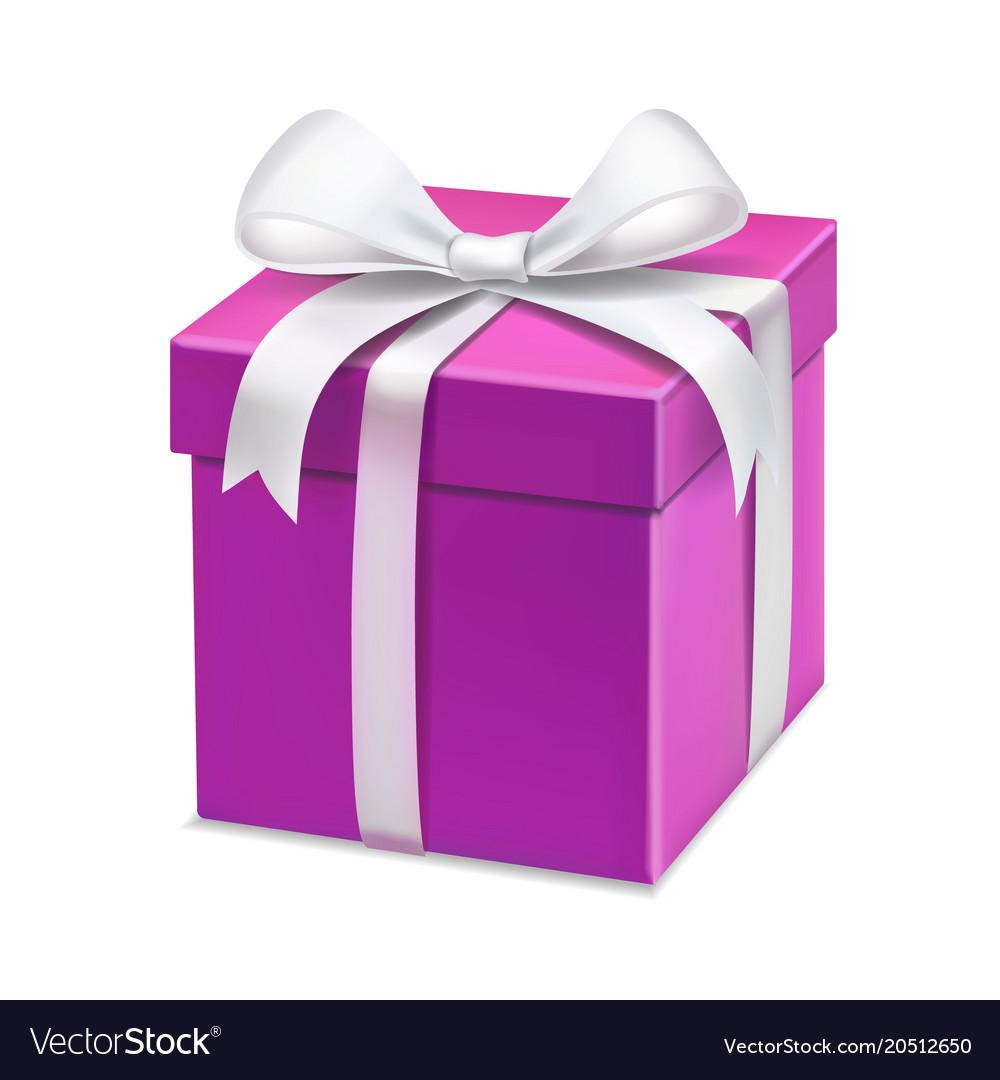 Pink cartoon gift box white bow royalty free vector image
