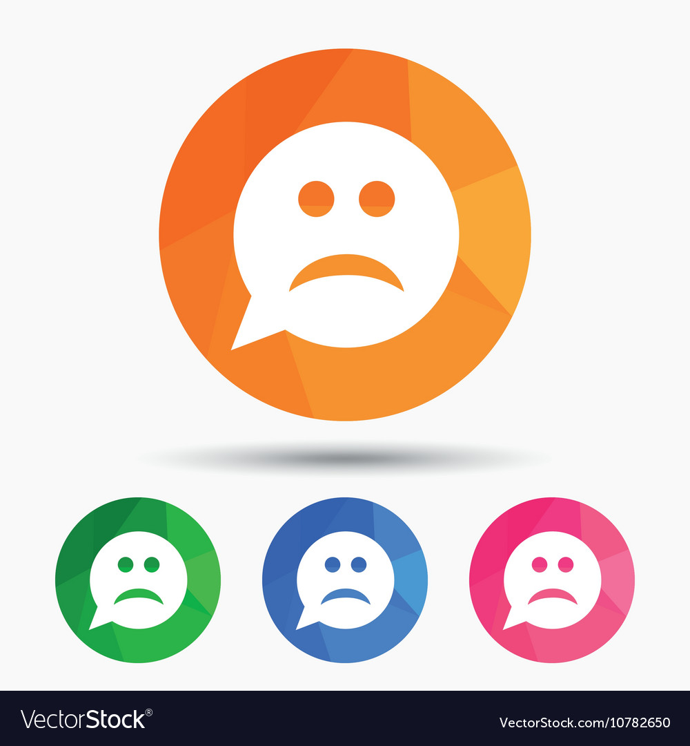 Sad face sign icon Sadness symbol Royalty Free Vector Image for Sad Stickers For Facebook Chat  1lp1fsj