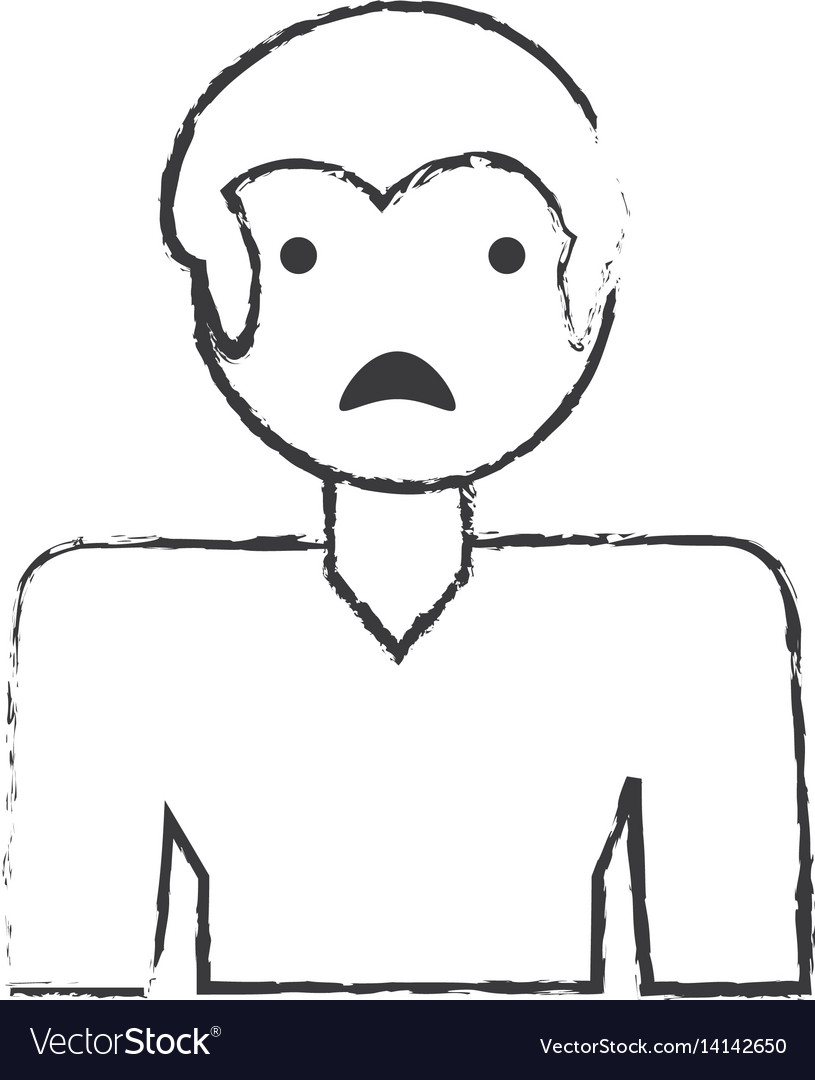 Sketch man male sad face vector image