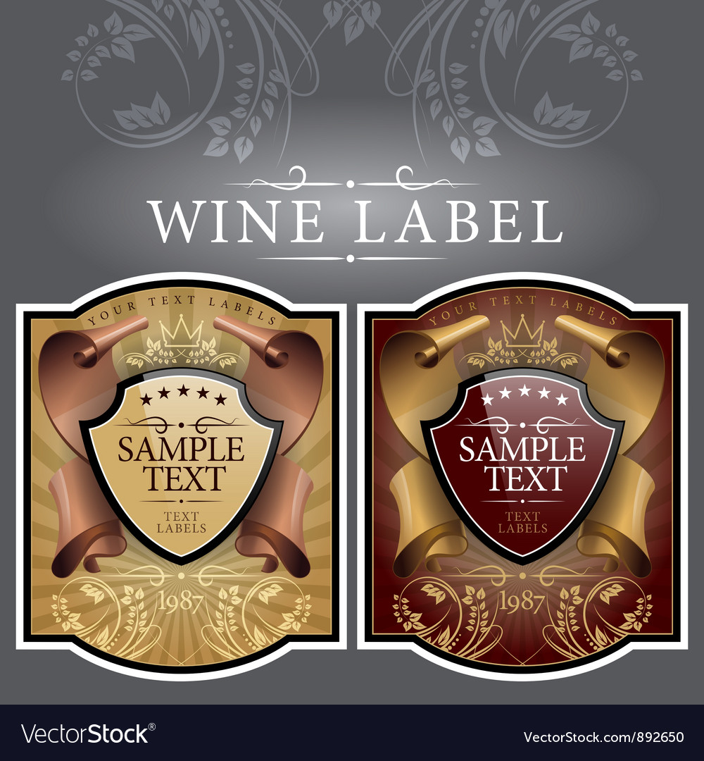 Wine label with a gold ribbon vector image
