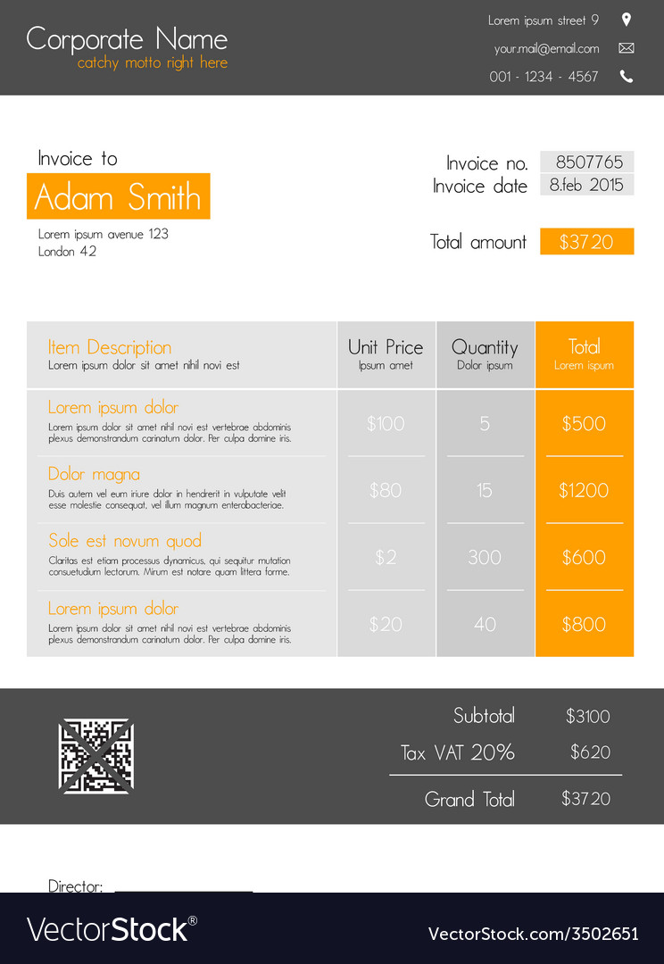 invoice template orange - clean modern style vector image, Invoice templates