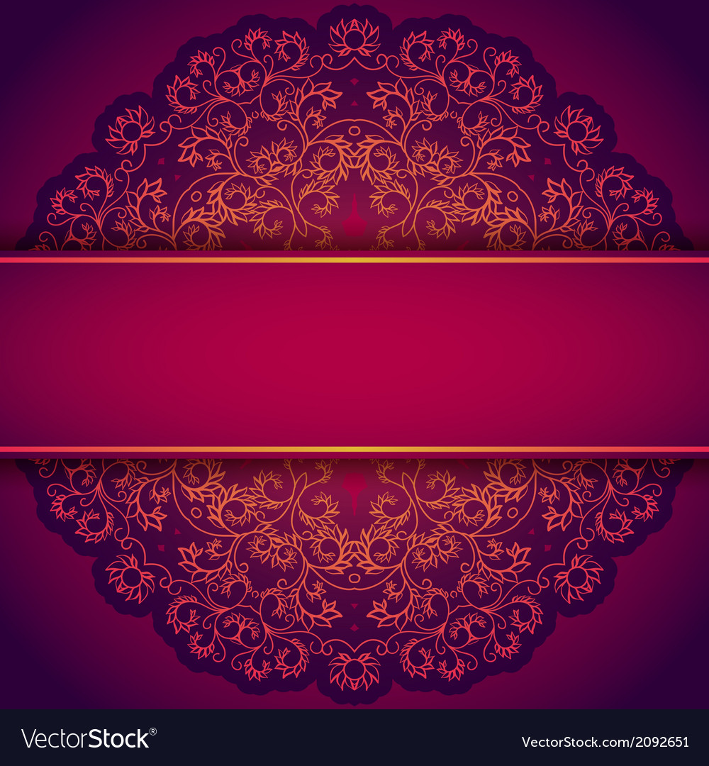 Purple invitation with lace floral ornament vector image