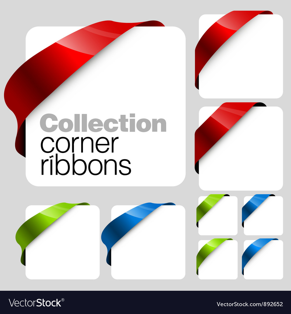 Collection of corner ribbons vector image