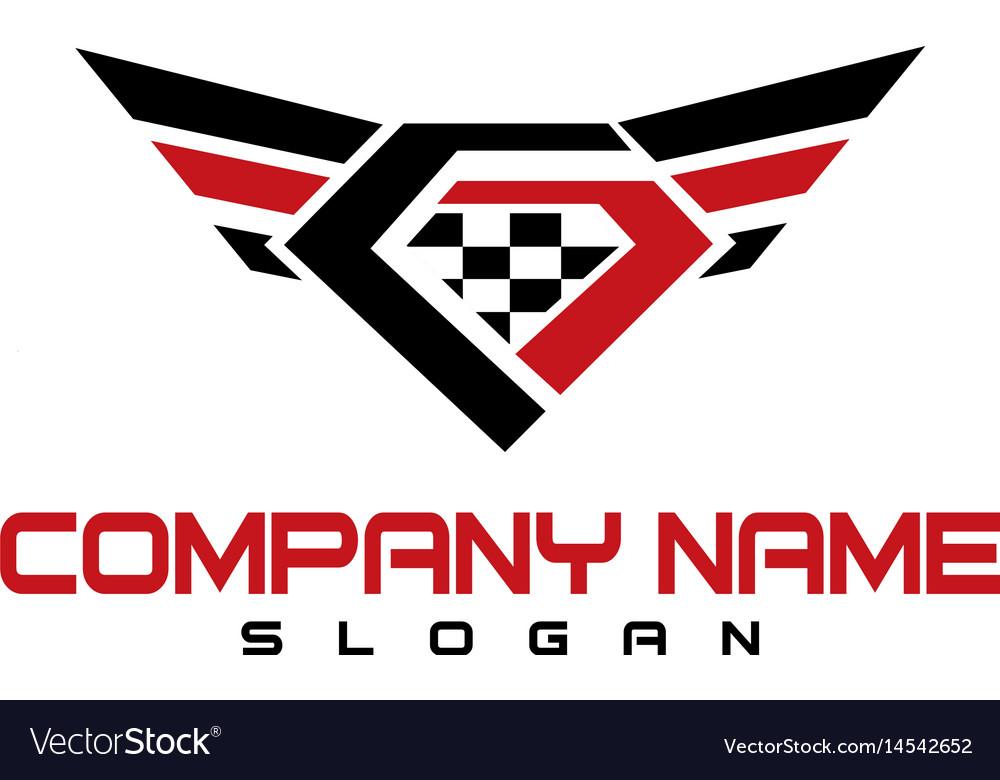 Diamond wings design vector image