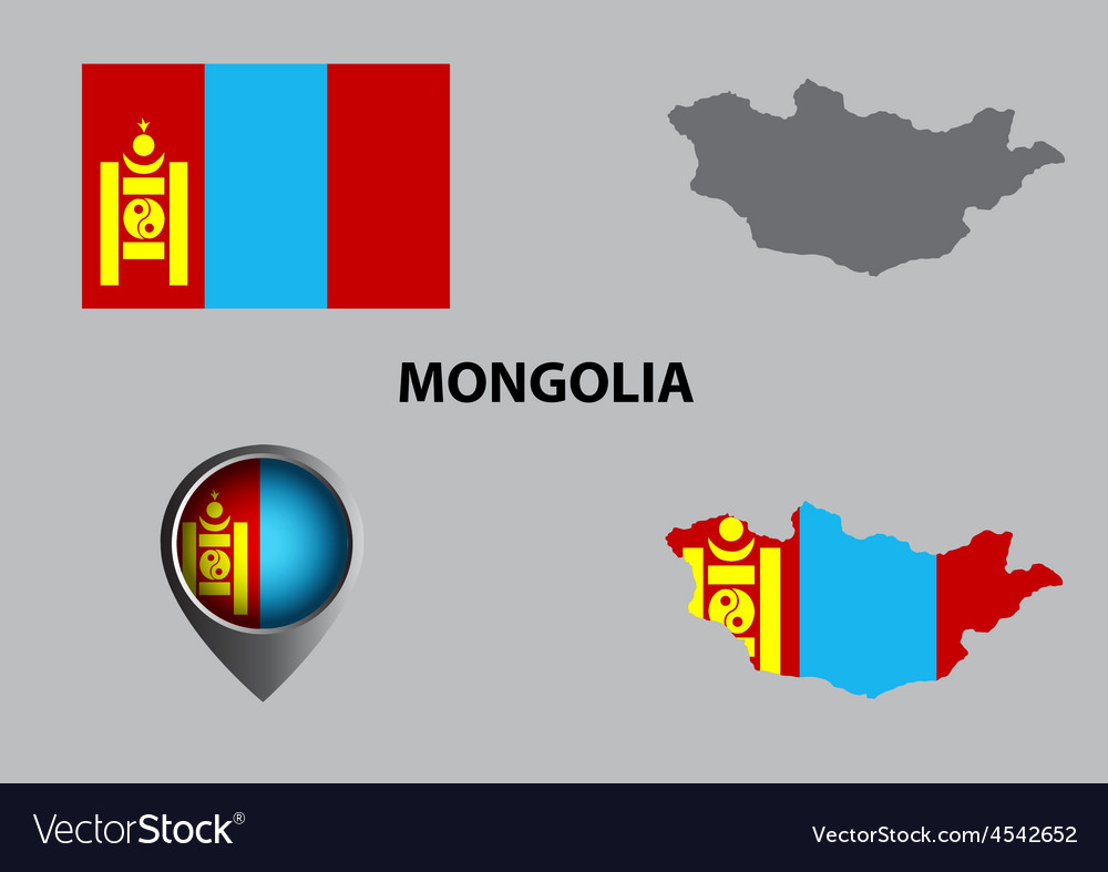 Map of Mongolia and symbol vector image