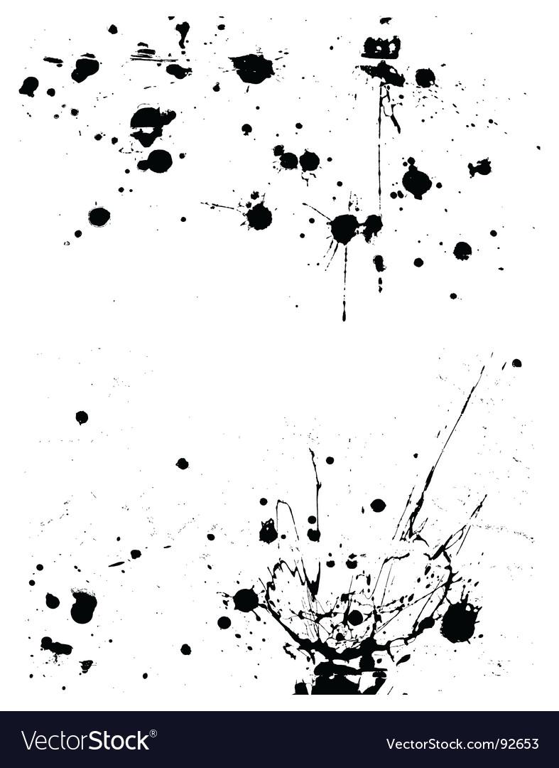 Ink splatter grunge design elements vector image