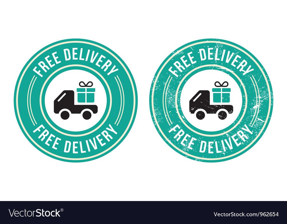Free delivery retro grunge badge vector image