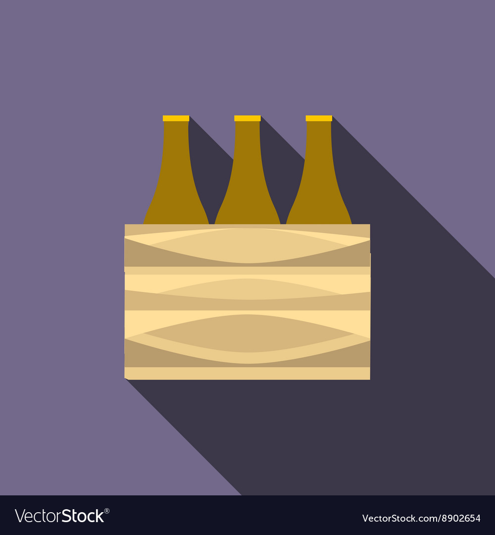 Brown beer bottles icon flat style vector image