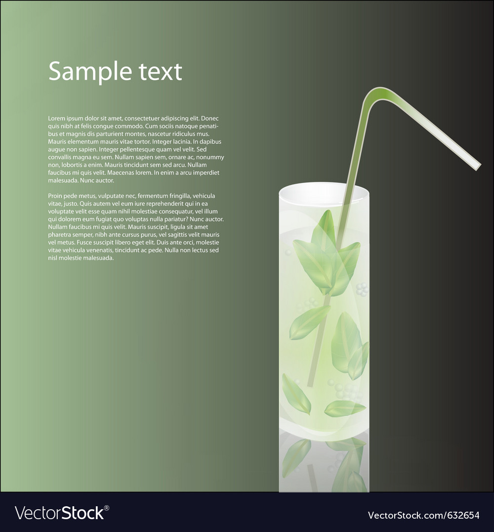 Cold drink on green background vector image