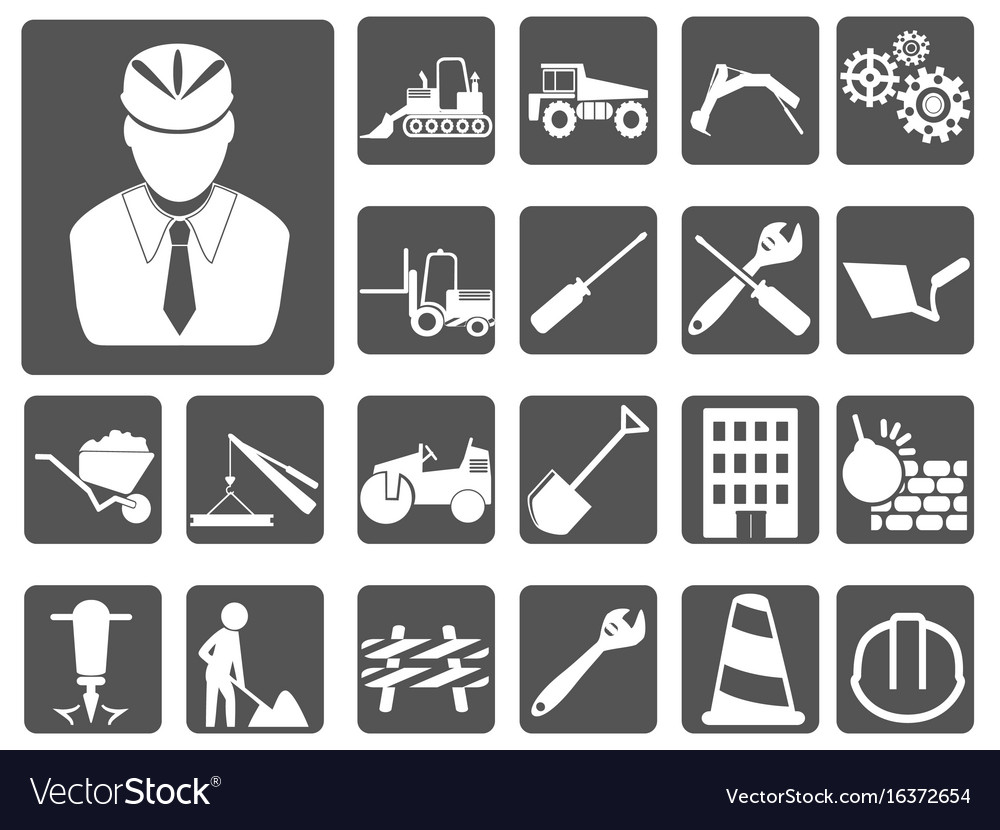 Engineer and construction icon buttons set vector image