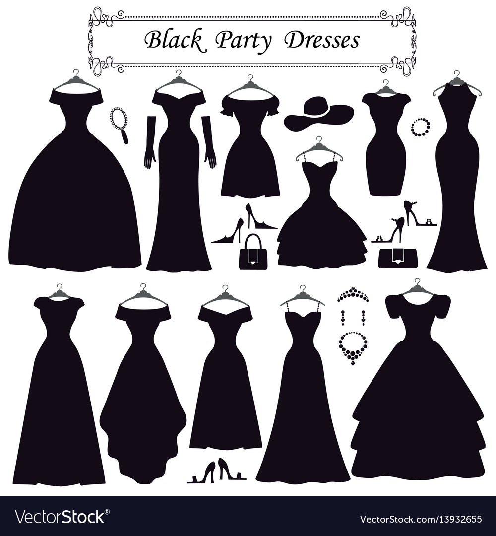 Silhouette of black party dressesfashion flat vector image