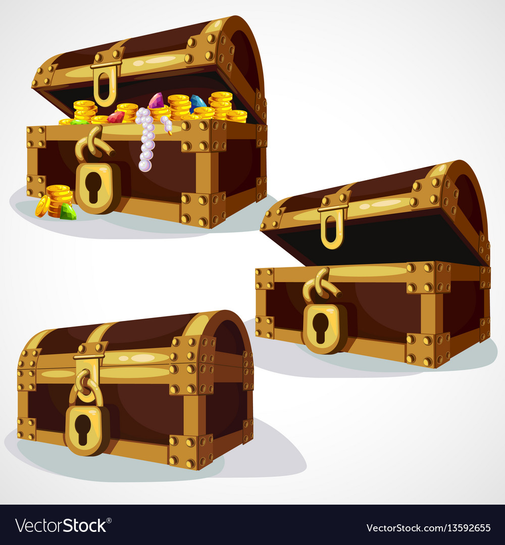 Wooden chest set vector image