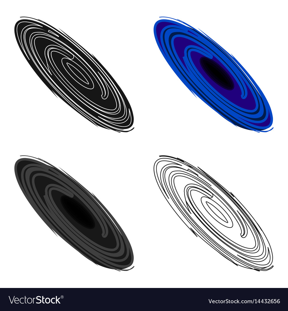 Black hole icon in cartoon style isolated on white vector image