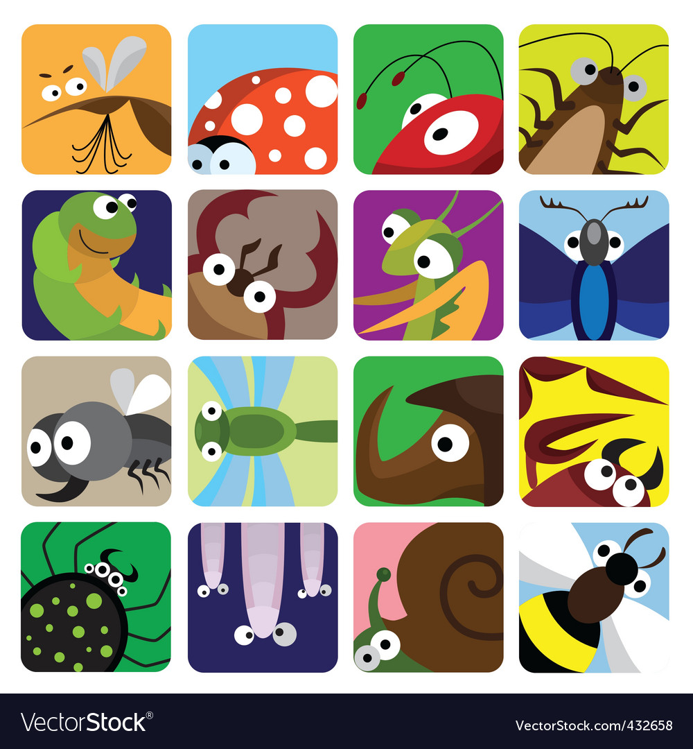 Insect icons set vector image