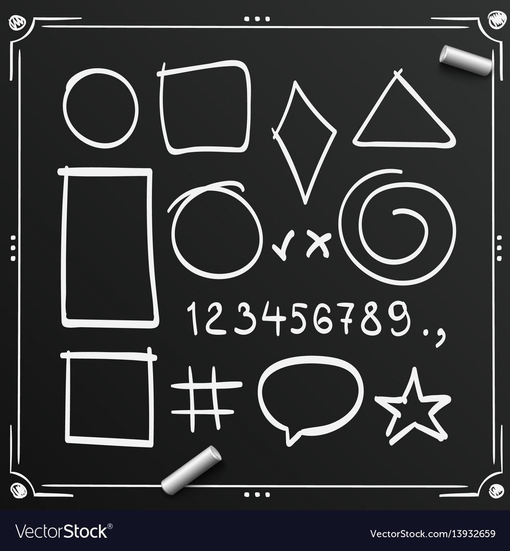 Chalkboard sketch symbols sign figure icons vector image