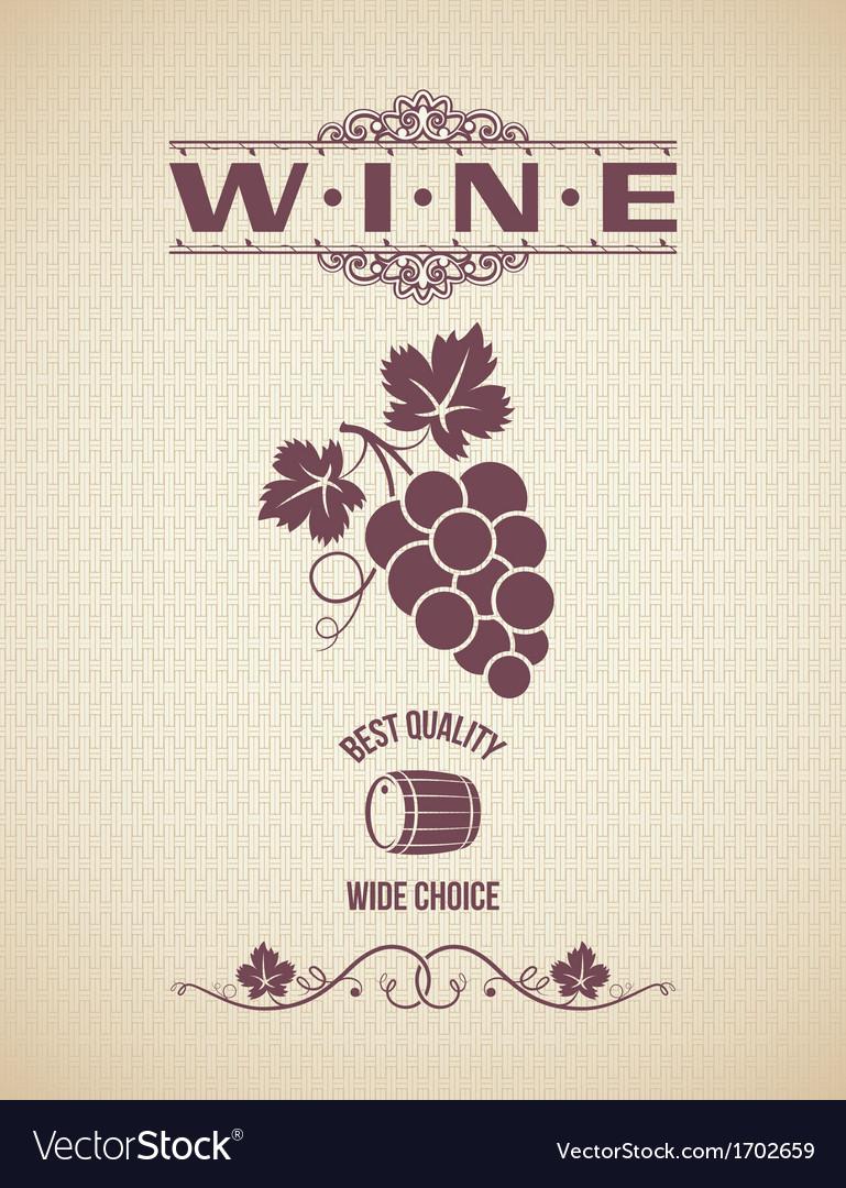 Wine vintage grapes label background vector image