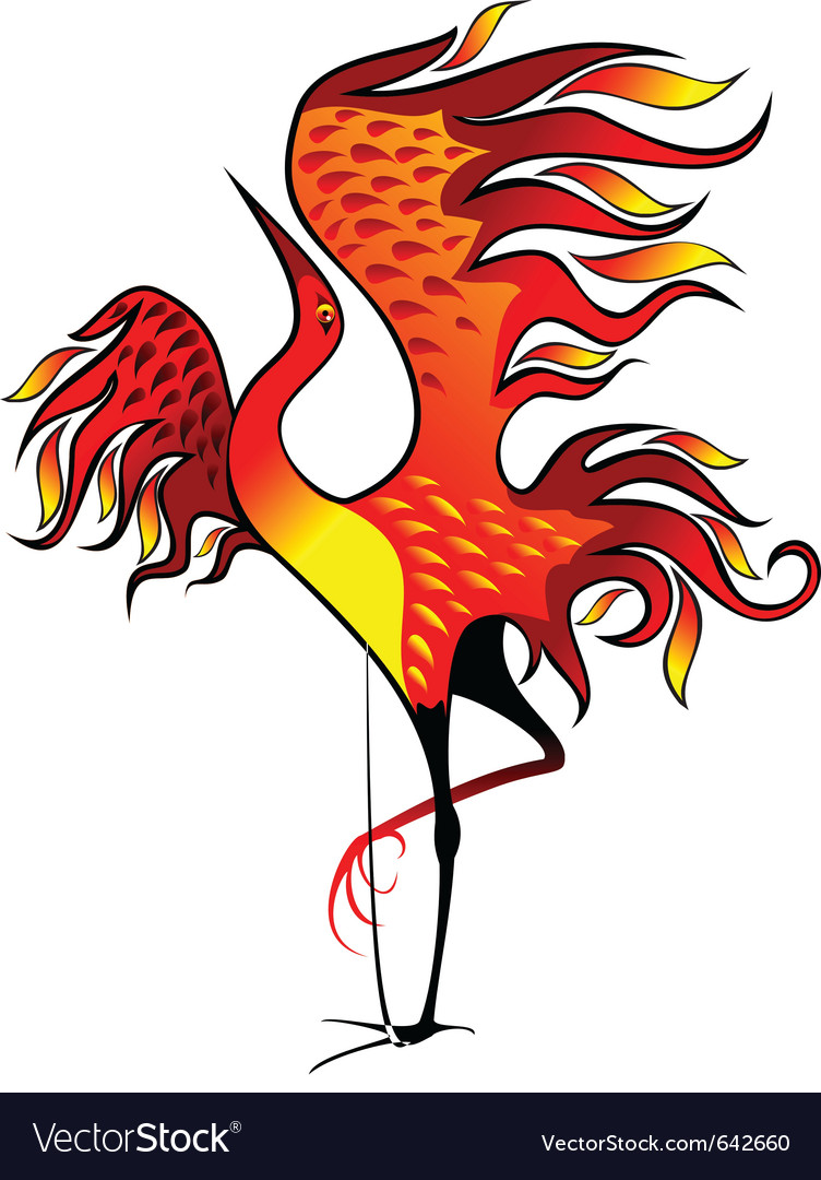 Fire bird vector image