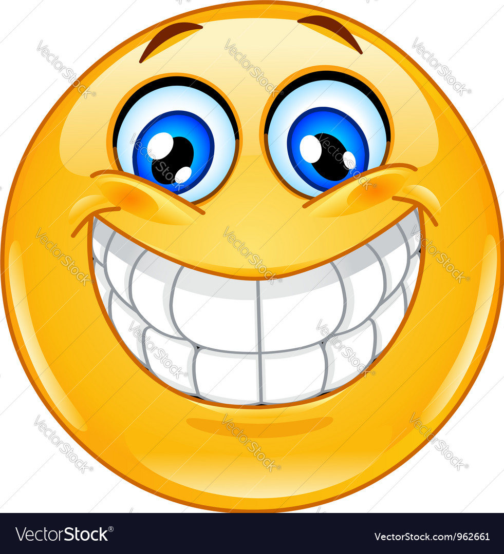 Big smile emoticon vector image
