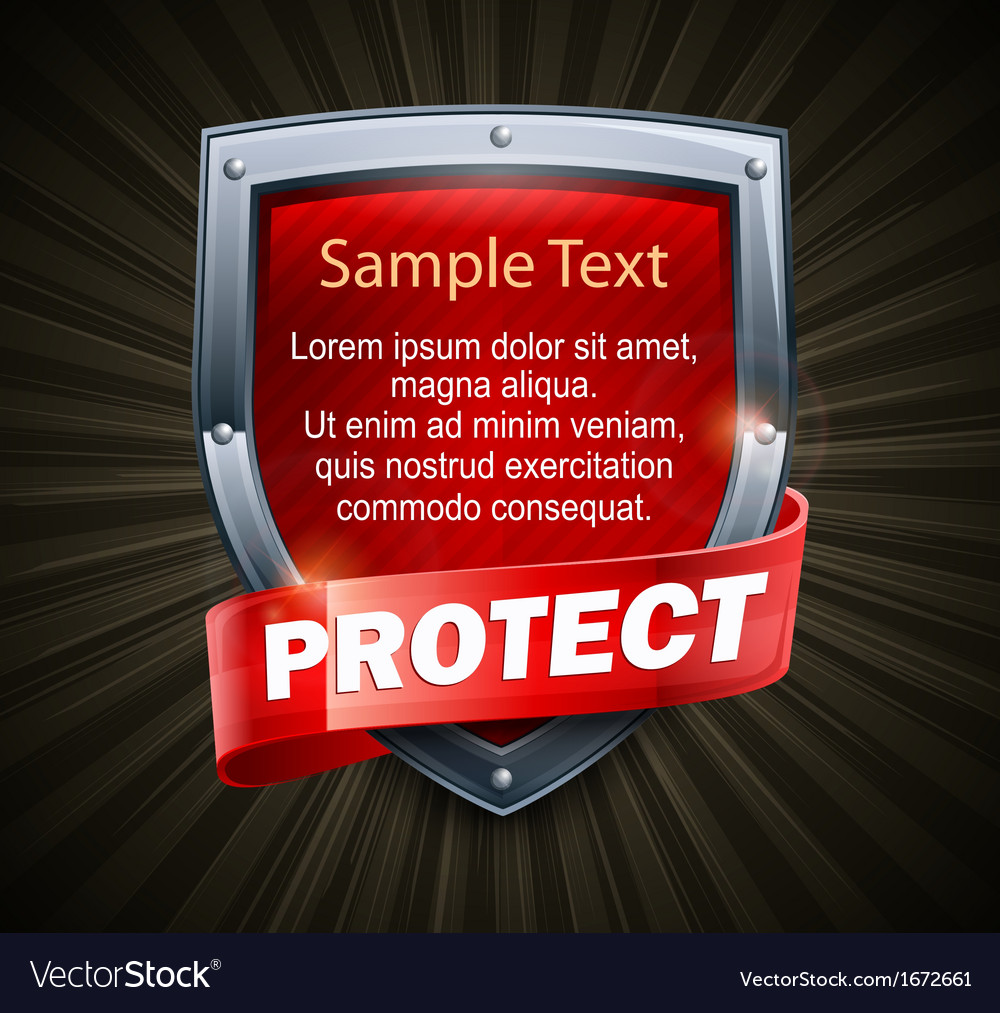 Red shield on black text vector image