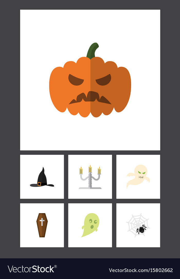 Flat icon halloween set of candlestick ghost vector image