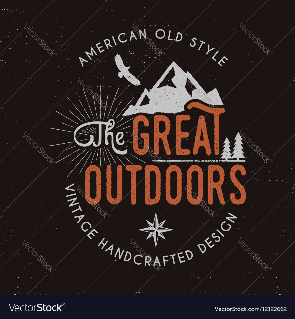 Great outdoors badge and outdoors activity vector image