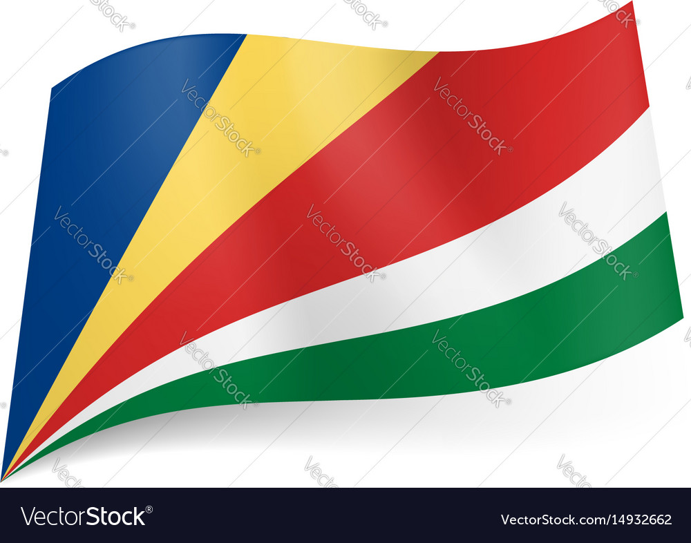 National flag of seychelles oblique blue yellow vector image